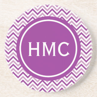 Double Purple Chevron Monogram Coaster