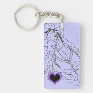 Double Purple Heart Barrel Racer Keychain