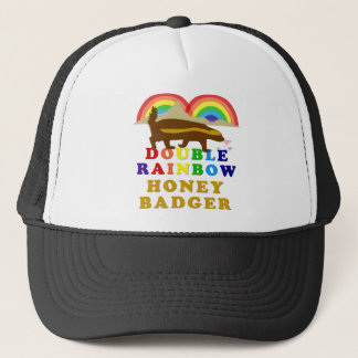double rainbow honey badger trucker hat