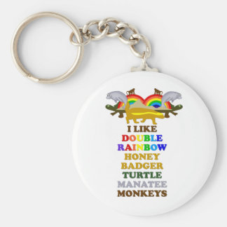 Double Rainbow Honey Badger Turtle manatee monkeys Keychain