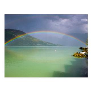 Double rainbow over a fjord postcard