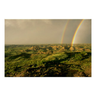 Double Rainbow over Painted Canyon in Theodore Poster