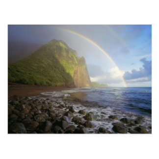 Double rainbow over the cliffs of the North Postcard