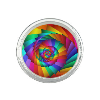 Double Rainbow Spiral Ring