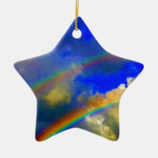 Double Rainbow Vision Ceramic Ornament