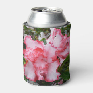 Double Red and White Azaleas Spring Floral Can Cooler
