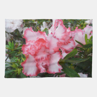 Double Red and White Azaleas Spring Floral Kitchen Towel