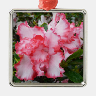 Double Red and White Azaleas Spring Floral Metal Ornament
