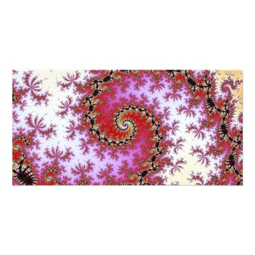 Double Red Spiral Fractal Design Customized Photo Card