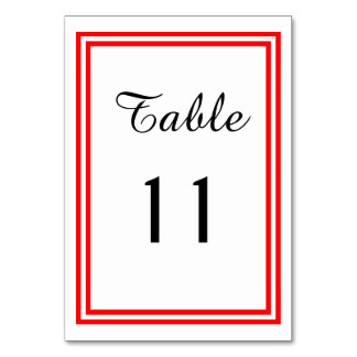 Double Red Trim - Table Card