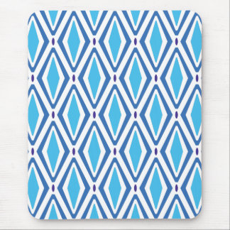 Double Retro Diamond Pattern (Blue) Mouse Pad