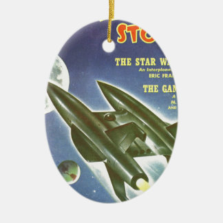 Double Rocket Ceramic Ornament