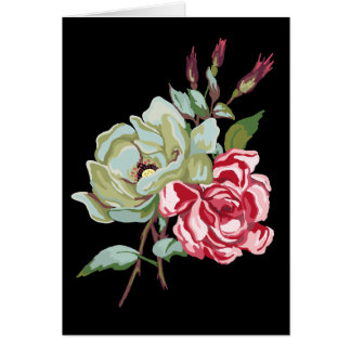 Double Rose on Black Greeting Card - blank inside