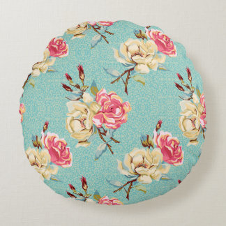 "Double Rose on Robins Egg Round Throw Pillow (16"")"