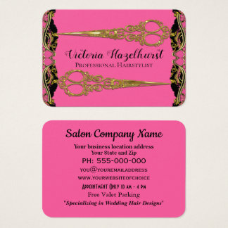 Double Scissors Paris Pearl Baroque Hairstyist Business Card