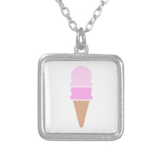 Double Scoop Ice Cream Cone - Pinks Silver Plated Necklace