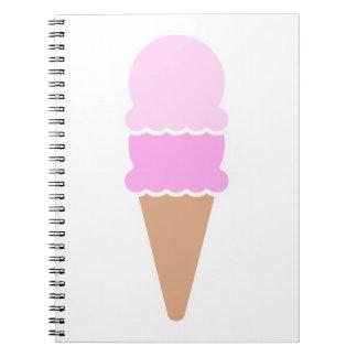 Double Scoop Ice Cream Cone - Pinks Spiral Notebook