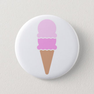 Double Scoop Pink Ice Cream Cone 2 Inch Round Button
