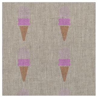 Double Scoop Pink Ice Cream Cone Fabric