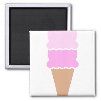Double Scoop Pink Ice Cream Cone Magnet