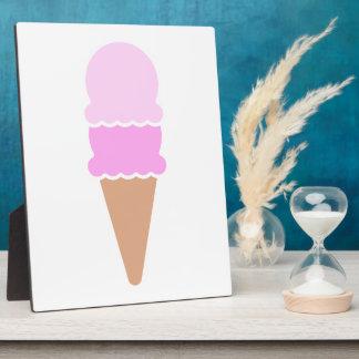 Double Scoop Pink Ice Cream Cone Plaque