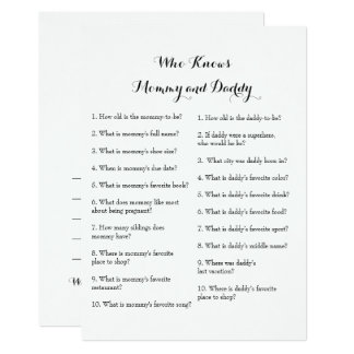 Double Side Baby Shower Games - Advice | Who Knows Card