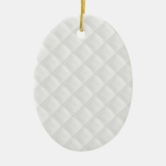 Double Side White Quilted Leather Ceramic Oval Ornament
