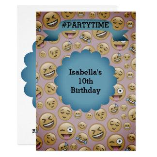 Double Sided Birthday Emoji Invitation