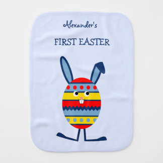 Double-sided custom name blue Easter egg bunny Burp Cloth