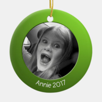 Double Sided Green 2 x Custom Photo and Text Ceramic Ornament