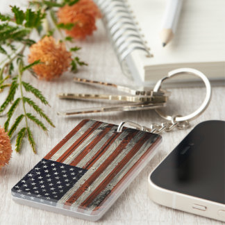 Double-sided Keychain with American Wood Flag