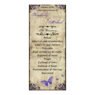 Double Sided Purple Butterfly Wedding Program