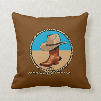 Double Sided Rodeo Brown Cowboy Boots and Hat Throw Pillow