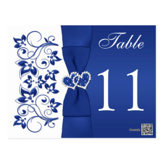 Double-sided Royal Blue and White Table Number 2 Postcard