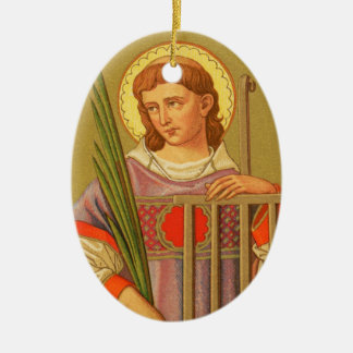 Double-Sided St. Lawrence of Rome (PM 04a) Ceramic Oval Ornament