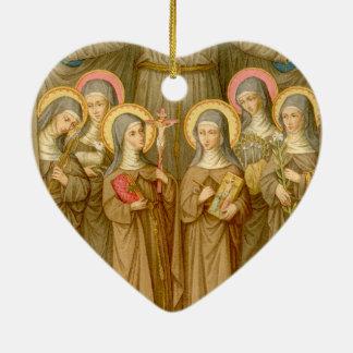 Double SIx Poor Clare Saints (SAU 027) Ceramic Ornament