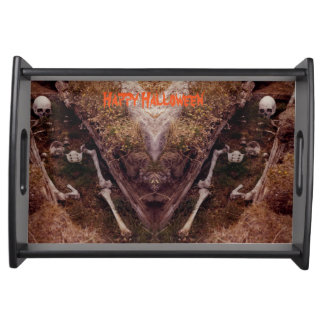 Double Skeleton Grave Scary Halloween Party Design Serving Tray