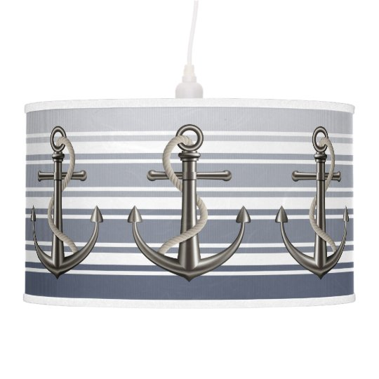 Double Striped Anchored Rope Hanging Lamp