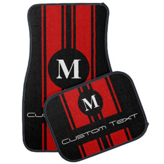 """Double Stripes - Use """"Customize"""" To Change Color Car Mat"""