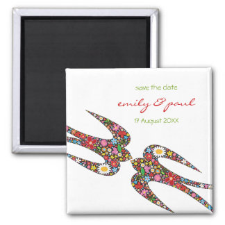 Double Swallows Spring Flowers Save Date Magnet