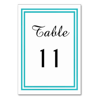 Double Teal Trim - Table Card