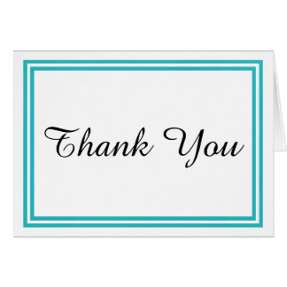 Double Teal Trim - Thank You Card