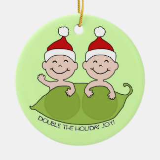 DOUBLE THE HOLIDAY JOY! ROUND CERAMIC ORNAMENT