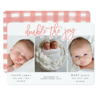 DOUBLE THE JOY-PINK CARD
