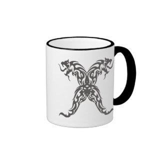 Double Tribal Dragons Ringer Mug