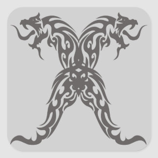 Double Tribal Dragons Square Sticker