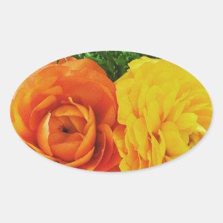 Double Trouble Flower Oval Sticker