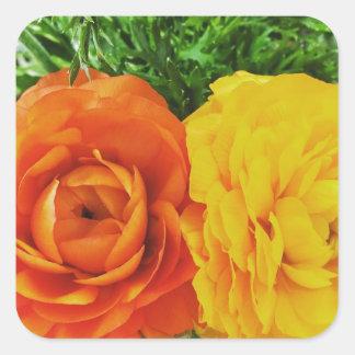 Double Trouble Flower Square Sticker