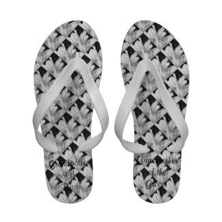 Double Tulip Monochrome Wedding Flip Flops