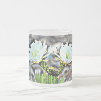 Double White Cactus Flower Frosted Mug